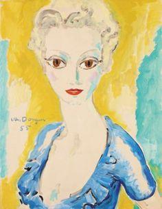 """Kees van Dongen          1877 - 1968    """"Portrait de Madame"""" 1955"""