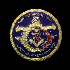 1 pcs Masonic Freemasonry blue enamel gold plated coin for fine souvenir gift Masonic Store, Masonic Art, Masonic Lodge, Masonic Symbols, Masonic Tattoos, Counting Coins, Eastern Star, Challenge Coins, Freemasonry