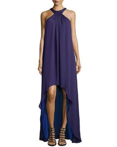 T9GMT Halston Heritage Halter-Style High-Low Gown