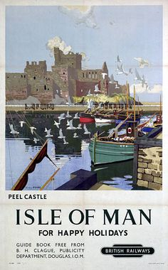 Poster produced for British Railways to promote rail and sea .services to the Isle of Man Artwork by Charles Pears a marine painter in oil who was an.../17