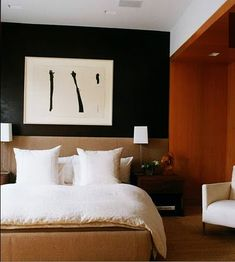 | P | Bedroom with Black and White Art - David Netto