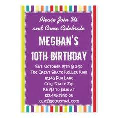 Rainbow Striped Girl Birthday Party Invitation