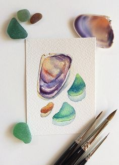 Orignal watercolour ACEO painting of tiny beach treasures: a purple shell and three pieces of the sea glass (one brown and two green).  Painted by Zoya Makarova  3.5x2.5 inches