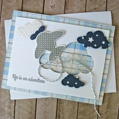 Life is an Adventure by Kathy Martin using #Pebbles' Special Delivery collection and #Reverse Confetti's Here We Go stamps and Confetti Cuts.
