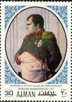 Stamp: Napoleon in Peter's Palace, by Vereshchagin (Ajman) (Napoleon paintings) Mi:AJ Napoleon Painting, Abou Dabi, Old Stamps, France, Sharjah, Napoleonic Wars, Mail Art, Stamp Collecting, Postage Stamps