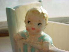 seller; florasgarden on ebay ~ Vintage Baby in Crib Planter Dresser Caddy w Duckie Rattle Teddy Bear As-Is