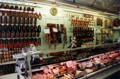 The Bavarian province of Germany is known throughout the world for its wide variety of sausages. Old World recipes dating back many centuries are still followed today. This typical sausage shop shows off its wares.