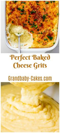 In this addictive Cheese Grits Casserole recipe, creamy rich Southern Grits are . - In this addictive Cheese Grits Casserole recipe, creamy rich Southern Grits are cooked with garlick - Baked Cheese Grits Recipe, Cheese Grits Casserole, Cheddar Grits Recipe, Hamburger Casserole, Chicken Casserole, Side Dishes Easy, Side Dish Recipes, Dinner Recipes, Best Brunch Recipes
