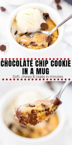 This single serving, deep dish chocolate chip cookie in a mug is seriously gooey. This single serving, deep dish chocolate chip cookie in a mug is seriously gooey and delicious. Ready in under 5 minutes - is dangerously delicious and easy to make! Chocolate Chip Mug Cake, Chocolate Cookie Recipes, Homemade Chocolate, Microwave Chocolate Chip Cookie, Mug Cookie Recipes, Microwave Brownie, Chocolate Chocolate, Single Chocolate Chip Cookie Recipe, Edible Cookie Dough Recipe For One