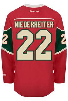 Minnesota Wild Nino NIEDERREITER #22 Official Home Reebok Premier Replica NHL Hockey Jersey (HAND SEWN CUSTOMIZATION)