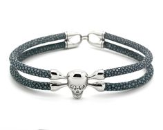 Gray Stingray Leather & Stainless Steel Skull - MSS8515