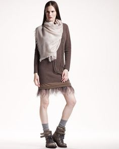Ostrich-Hem Knit Dress by Brunello Cucinelli at Bergdorf Goodman.