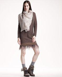 Ostrich-Hem Knit Dress & Metallic-Trim Scarf by Brunello Cucinelli at Neiman Marcus.76000-26000 руб