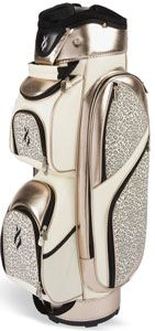 A creme & champagne leopard print golf bag... with a touch of gold Lame. Thank you Nancy Lopez.