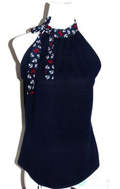"""Neckholdertops - Neckholder Top """"Betty"""" dunkelblau mit Ankern - ein Designerstück von lucylique bei DaWanda"""
