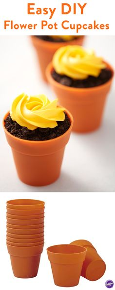 Terra Cotta Baking Cups - How cute is this take on a cupcake bouquet? Perfect for Mother's day, spring or summer parties.  Serve a cookie crumble with a simple buttercream rosette. Or bake flower cupcakes in these oven-safe silicone baking cups. Decorate these single-serve treats with an easy drop flower or buttercream rosette. These  silicone dirt cups are so much fun! Did we mention they're dishwasher safe, too? Bonus!