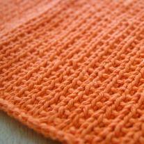 Broken Rib Handknit Washcloth in Orange
