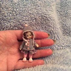 Miniature handmade BABY GIRL TODDLER ooak DOLLHOUSE DOLLSHOUSE ARTIST DOLL MINI
