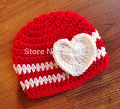 >> Click to Buy << Crocheted Bright Red & White Baby Girl Valentine's Day Hat with Heart, Baby Shower Gift, Newborn Photo Prop #Affiliate