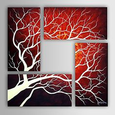 Hand-painted Abstract Oil Painting with Stretched Frame - Set of 4 – USD $ 148.99