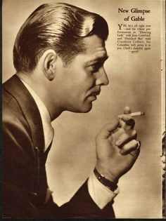 Clark Gable Smoking Cigarette 1933 Movie Page on Back James Cagney   eBay
