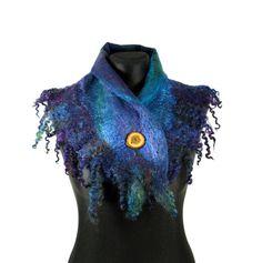 felted scarf shawl, woolen scarf, felt scarf, felted collar- Feltmondo