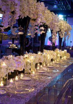 White & Black Wedding Tablescape #orchids #ghostchairs #winkdesigns