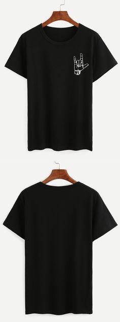 Black Love Gesture Print T-shirt