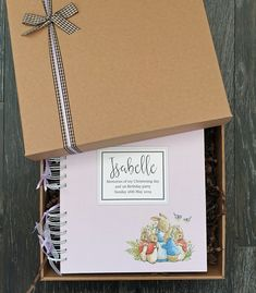 "Peter Rabbit baby scrapbook, for christening or first birthday memories, 8""x8"" memory book in gift box"