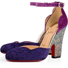Aketi  100 VERSION VIOLA Velvet - Women Shoes - Christian Louboutin featuring polyvore, women's fashion, shoes, d'orsay shoes, ankle wrap shoes, christian louboutin, glitter shoes and ankle strap shoes