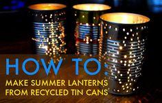 Tin Can Lantern Templates   Tin Can Into a Gorgeous Outdoor Lantern for Summer Parties DIY tin can ...