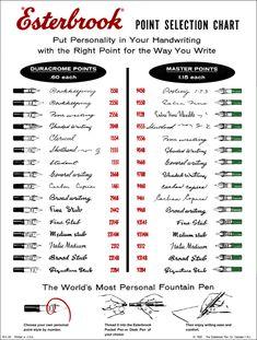 Esterbrook fountain pen nib selection