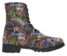 Marvel superheroes know all about kicking butt, so it only makes sense to wear some combat boots. These Marvel Comics women's combat boots from Wet Sock Shoes, Cute Shoes, Me Too Shoes, Shoe Boots, Dress Boots, Vans Shoes, Sneakers Nike, Marvel Shoes, Marvel Clothes