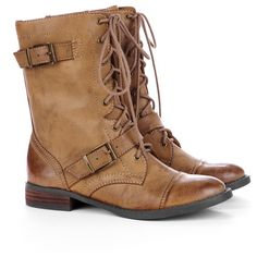 Sole Society Nessiecombat boot ($42) ❤ liked on Polyvore featuring shoes, boots, zapatos, botas, dark camel, vegan boots, lacing combat boots, low heel boots, short heel boots and faux-leather boots
