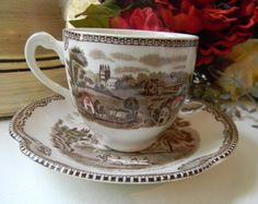 Vintage Brown Polychrome Transferware Cup and Saucer Picnic Castles Roses
