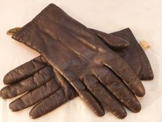 Vintage Leather Gloves Full Rabbit Fur Lining by Grandoe Black Leather Winter #Grandoe #WinterGloves