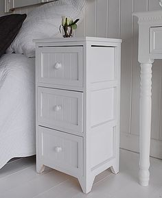 Maine Three Drawer White Painted Bedside Table Bedroom Furniture