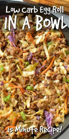 Satisfy your egg roll craving with this Easy Low Carb Egg Roll In A Bowl recipe!… Satisfy your egg roll craving with this Easy Low Carb Egg Roll In A Bowl recipe! Its got all the classic flavors of an egg roll without the carbs! Healthy Low Carb Recipes, Diet Recipes, Low Carb Food, Curry Recipes, Low Carb Cheap Meals, All Recipes, Diabetic Dinner Recipes, Low Carb Crockpot Recipes, Crock Pot Recipes
