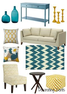 Decorating Cents Yellow And Teal Living RoomsLiving Room