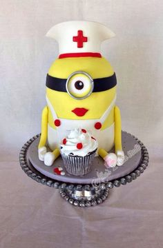 Creative Despicable Me Minion Birthday Cake Ideas - Girl nurse minion cake for kids made by Alba's cake studio| CraftyMorning.com