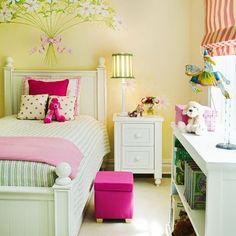 yellow girls room | girls room. yellow, pink, green.