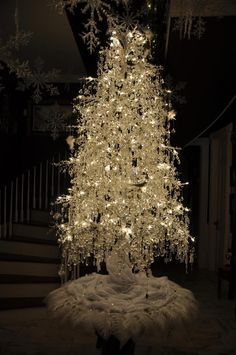 White Christmas Crystal tree  - You can add Santa - Holiday Quotes & More From your Phone CLICK> Capturethemagic.com