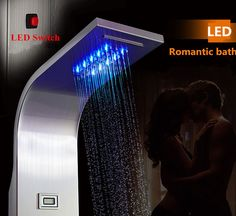 Stainless Steel Shower Panel Tower System,LED Rainfall Waterfall Shower Head