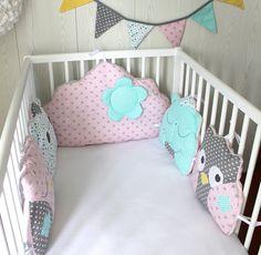 *Tour de lit 5 coussins chat et hibou ou chouette, et nuage, couleur au choix