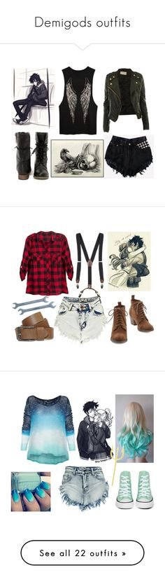"""""""Demigods outfits"""" by katherine224 ❤ liked on Polyvore featuring Boohoo, Young, Fabulous & Broke, VIVO, Converse, T By Alexander Wang, ASOS, Disney, Jessica Simpson, Tory Burch and Free People"""