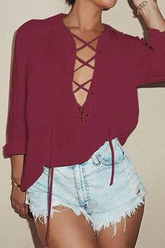 Burgundy Lapel Neck Lace-up Pocket Front Shirt