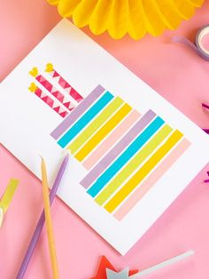 Make a Sweet Washi Tape Last-Minute Birthday Card Diy Washi Tape Cards, Washi Tape Crafts, Cards Diy, Paper Cards, Easy Diy Birthday Cards, 21st Birthday Cards, Creative Cards, Creative Ideas, Birthday Scrapbook Pages