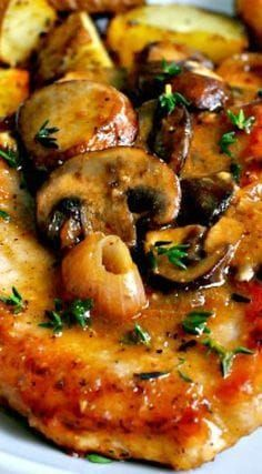 Pork Marsala with Mushrooms and Shallots I am not fond of Marsala and would add stock strongly flavored with balsamic vinegar and a tiny bit of sugar. Marsala just gahh. Pork Chop Recipes, Meat Recipes, Chicken Recipes, Dinner Recipes, Cooking Recipes, Healthy Recipes, Pork Cutlet Recipes, Dinner Entrees, Recipies