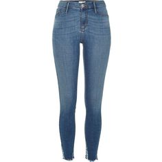 River Island Mid wash blue ripped raw hem Molly jeggings ($84) ❤ liked on Polyvore featuring pants, leggings, blue, jeans, jeggings, women, blue leggings, skinny jeggings, skinny pants and jean leggings