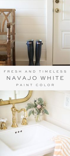 All the details about one of my favorite paint colors, Benjamin Moore Navajo White (not to be confused with Sherwin Williams color of the same name). Best Neutral Paint Colors, Favorite Paint Colors, Best Interior Paint, Interior Paint Colors, Navajo White Sherwin Williams, Benjamin Moore Navajo White, Home Decor Inspiration, Design Inspiration, Design Ideas